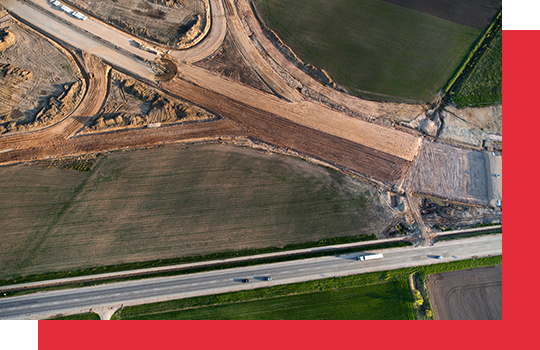 A road construction site from aerial view